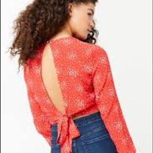 Speckle print tie back crop top